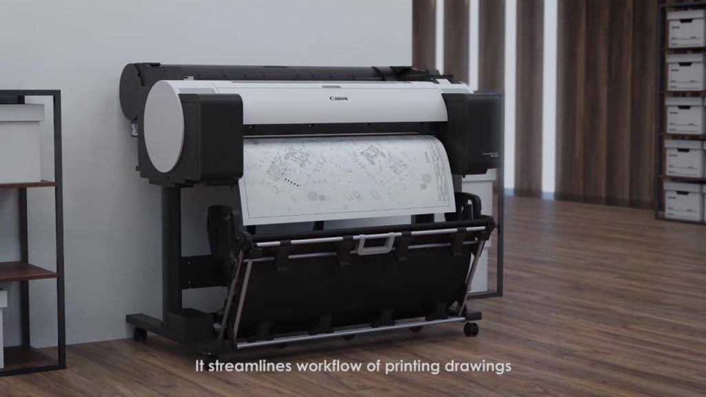 Printing of technical drawings in architect studio